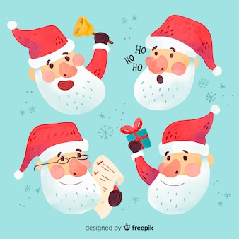 Watercolour santa claus character collection