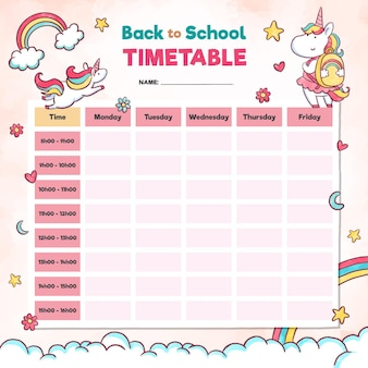 Watercolour school timetable in pink elements