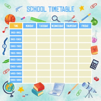 Watercolour school timetable with books and pens