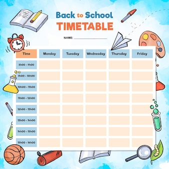 Watercolour school timetable with objects
