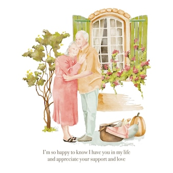 Watercolour seniors couple in love staying in the yard