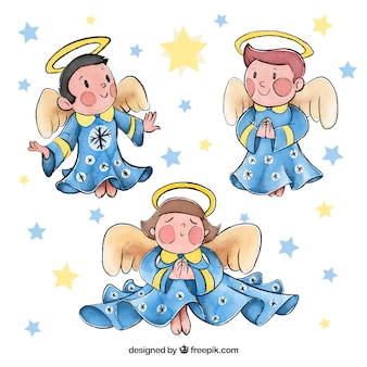 Watercolour set of christmas angels