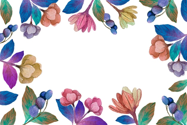 Watercolour spring  blooming flowers background