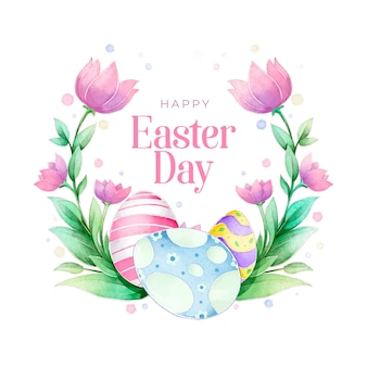 Watercolour spring easter floral wreath with tulips