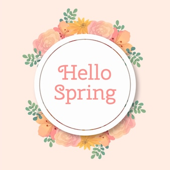 잎 수채화 봄 꽃 원형 프레임