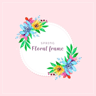Watercolour spring floral colourful frame
