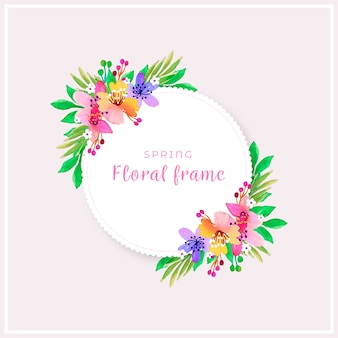 Watercolour spring floral frame in colourful shades