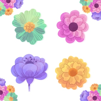 Watercolour spring flowers design isolated on white background