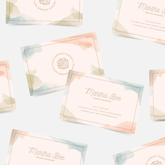Watercolour stains business card template