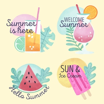 Watercolour summertime badges with ice cream