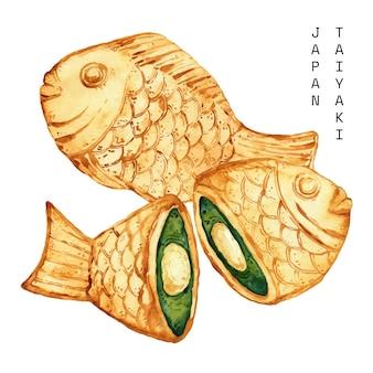 水彩のたいやき魚型