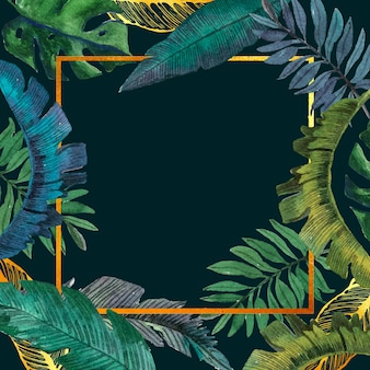 Watercolour tropical leaves with golden frame