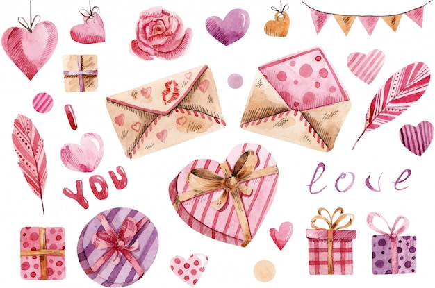 Watercolour valentine's day, great design for any purposes.