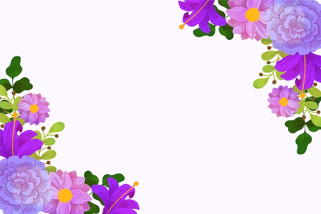 Watercolour violet spring background frame with copy space