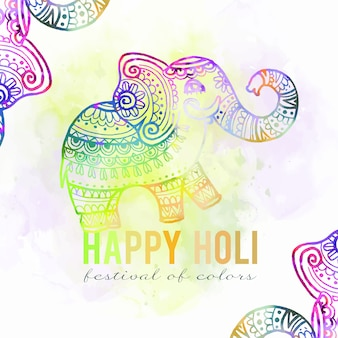 Watercolour vivid colours holi festival gradient elephant