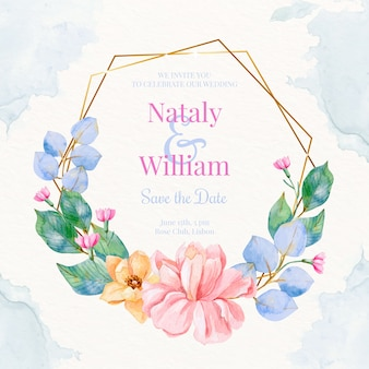 Watercolour wedding golden floral frame
