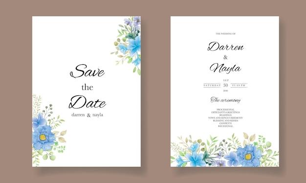 꽃 장식으로 수채화 결혼식 초대 카드 서식 파일