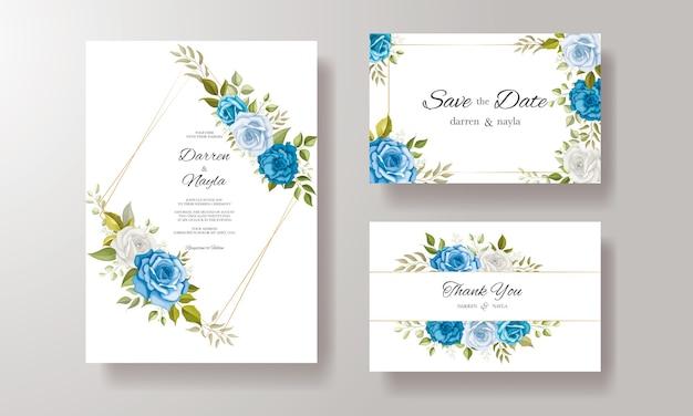 葉の装飾と水彩の結婚式の招待カードテンプレート