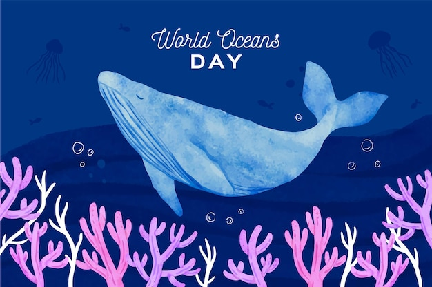 Watercolour whale world ocean day
