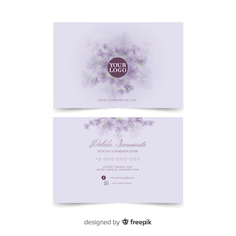 Watercolour white floral business card template