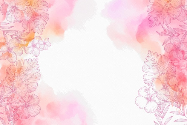 Watercolour with hand drawn flowers background