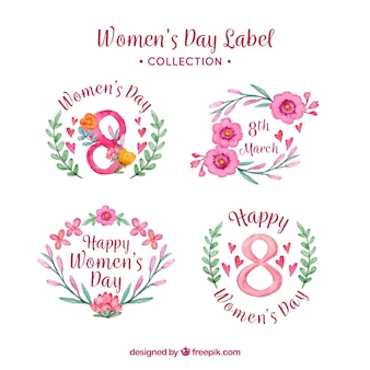 Watercolour women's day badges