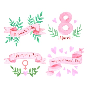 Watercolour women's day with plants and ribbons