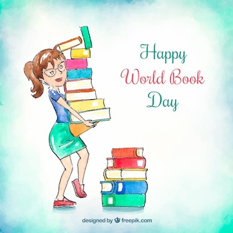 Watercolour world book day background
