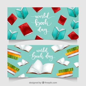 水彩の世界の本の日のバナー