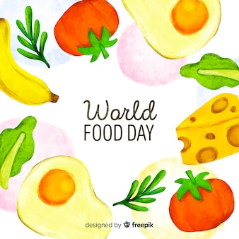 Watercolour world food day with fruit and dairy products