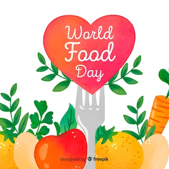 Watercolour world food day with heart and fork