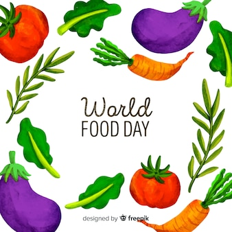 Watercolour world food day with vegetables