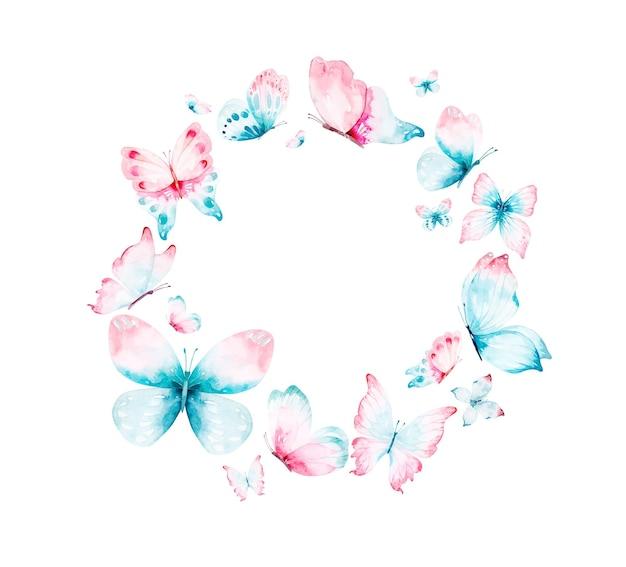 Watercolour wreath of blue pink flying butterflies
