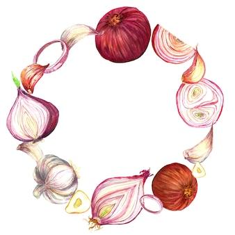 タマネギとニンニクの水彩画の花輪