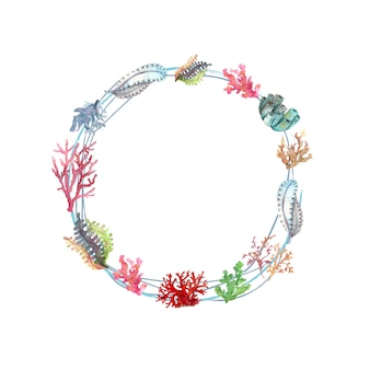 Watercolour wreath of underwater plants and corals
