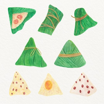 Watercolour zongzi rice dumplings collection