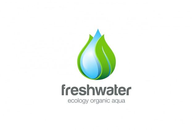 Icona di vettore di logo di foglia di waterdrop.