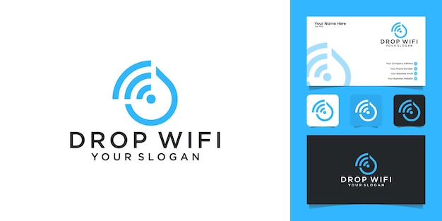 Wi-fiの組み合わせのロゴデザインテンプレートと名刺と水滴技術