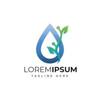 葉のロゴのデザインテンプレートと水滴
