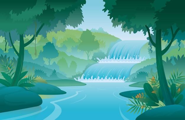 Водопад и лесной пейзаж пейзажный фон