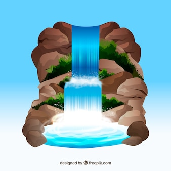Waterfall background in cartoon style