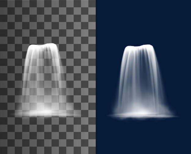 Waterfall cascade, realistic water fall stream, vector fountain cascading natural 3d design elements. pure falling jet with fog, falling waterfall, streaming isolated on transparent or blue background