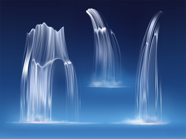 Waterfall cascade, realistic water fall streams set of pure liquid with fog of different shapes. river, fountain element for design, nature realistic 3d vector illustration
