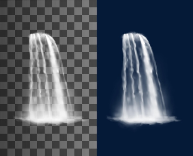 Waterfall cascade, realistic water flow. transparent stream, fountain jet, river or garden 3d vector waterfall pure water falling from cliff with splash and fog or spray mist
