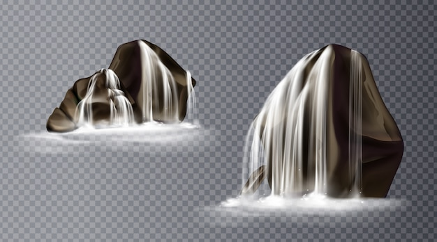 Waterfall cascade on rock, realistic water fall