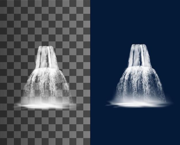 폭포 캐스케이드, 벡터 물 폭포 스트림, 안개와 함께 현실적인 순수 떨어지는 제트기. 분수 자연 디자인 요소입니다. 3d 떨어지는 폭포, 투명하거나 파란색 배경에 고립 된 스트리밍 물