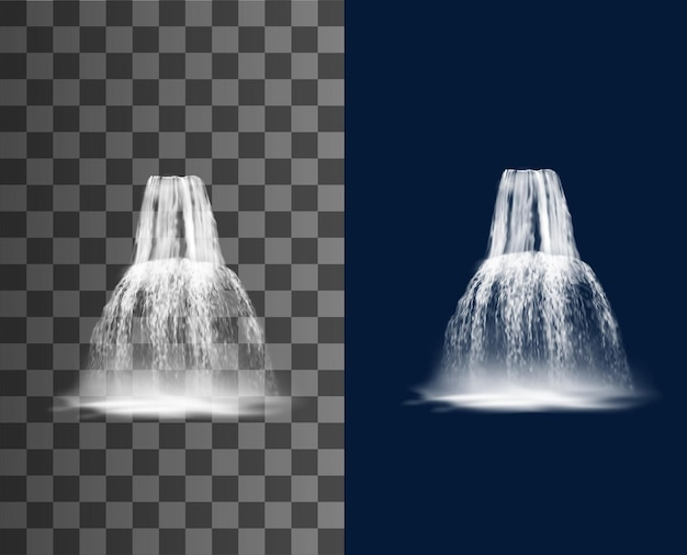 Waterfall cascade, vector water fall streams, realistic pure falling jets with fog. fountain natural design elements. 3d falling waterfall, streaming water isolated on transparent or blue background