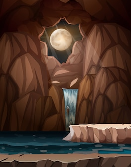 A waterfall cave at night