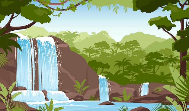 Waterfall in green jungle rainforest