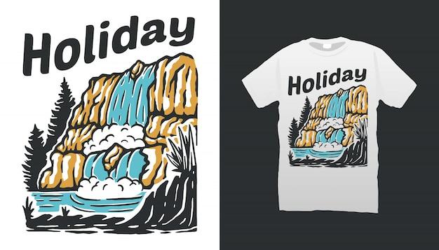 Waterfall illustration tshirt design